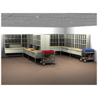Charnstrom's Mail Room Console and Office Organizer 580 Pocket Legal Depth Mailing System with Sorters and Tables Complete!