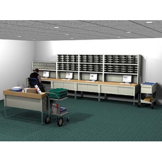 Mail Room Console and Office Organizer 123 Pocket, Legal Depth Sorting Station with Large Mail Dump Table