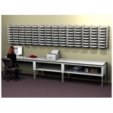 Mail Room Furniture 112 Pocket, Wall Mount Sorter System with Tables, Complete! Legal Depth